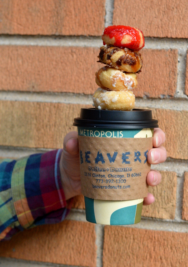 beaver donut coffee stack
